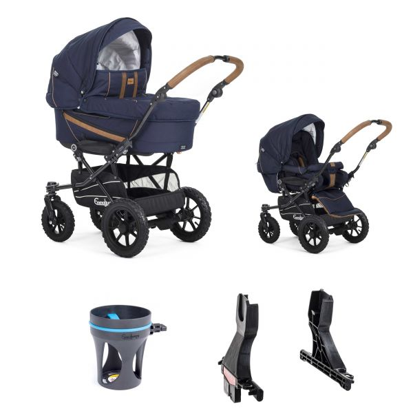 Emmaljunga EDGE DUO - 2020 - OUTDOOR NAVY ECO - DUO S BLACK OUTDOOR AIR - Bundle