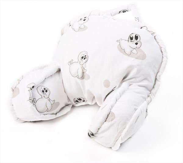 Sitzkissen für den Kinderwagen - weiß mit Robben