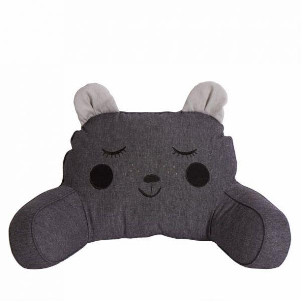 Sitzkissen für den Kinderwagen - Bär mit Ohren dunkelgrau-anthrazit