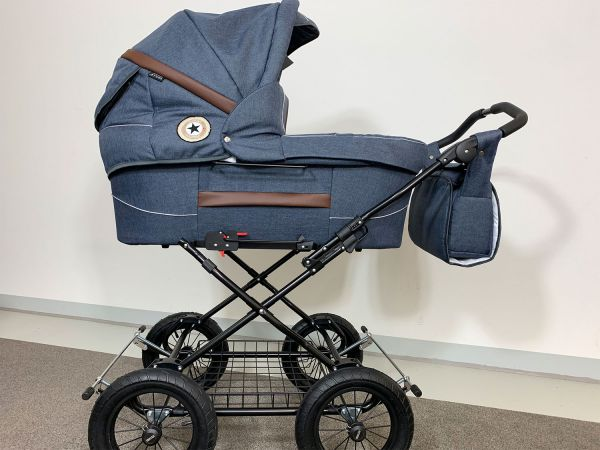 Trille Hippa Kinderwagen - Blau Denim - inkl. Innentragetasche & Wickeltasche