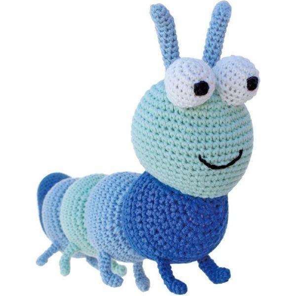 Gehäkelte Raupe (blau-türkis)