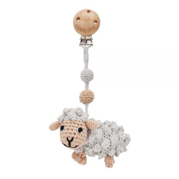 Single Mobilé - Schaf mit Rassel - grau