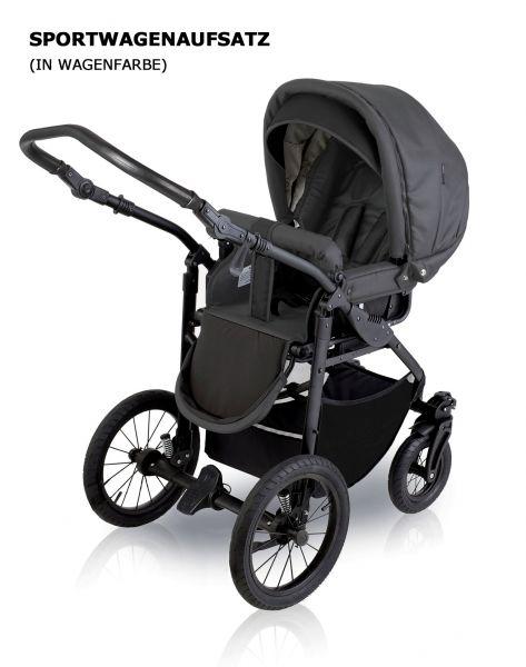 Sportwagenaufsatz Dunkelgrau / Melange für Basson Baby Nordic Lux