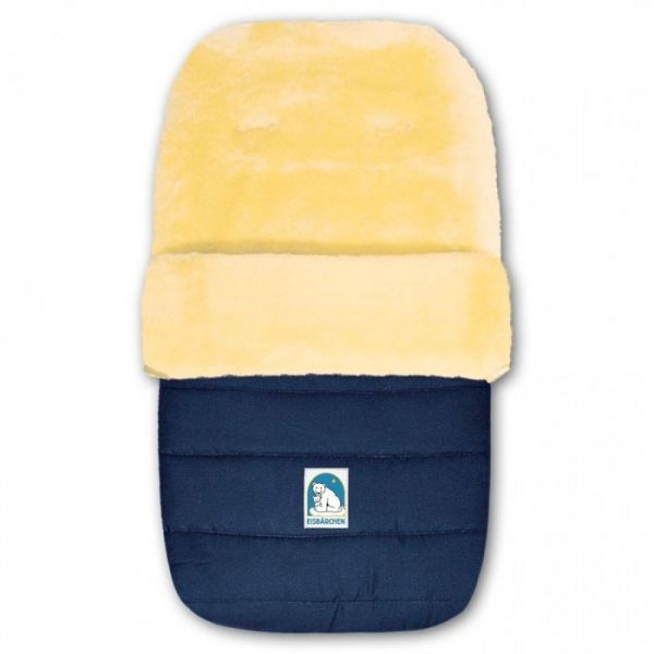 Komfort Winterfußsack / Skisack mit Lammfell - marineblau